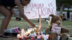 Memorial at the scene of the vigil for the victims of the cinema shooting in Aurora, Colorado (21 July)