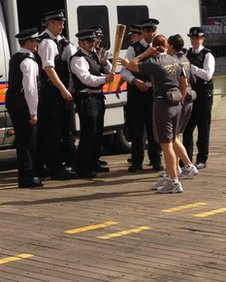 Police with the torch