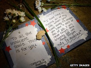 Messages left at a vigil for the victims of the shootings at a cinema in Aurora, Colorado (20 July 2012)