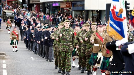 The Armed Forces Day parade in Inverness included 3SCOTS (The Black Watch)