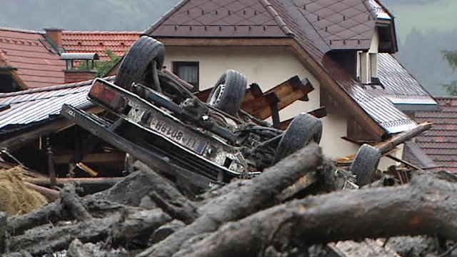 Upturned vehicle in Austrian flood