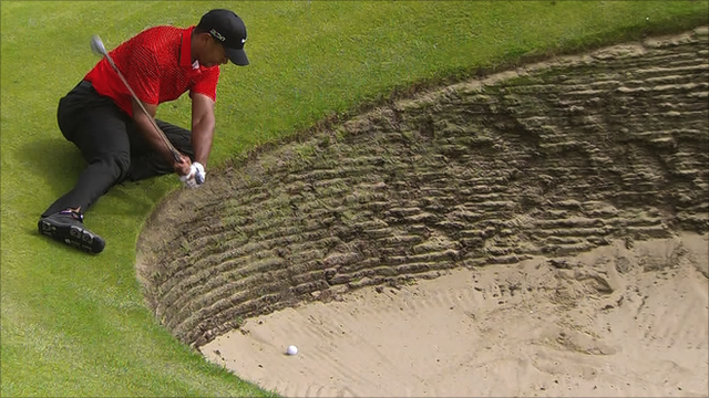Tiger Woods in a bunker