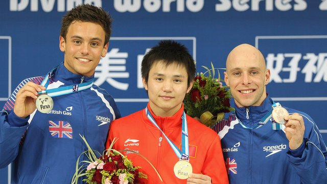 Divers Tom Daley, Qiu Bo &amp; Peter Waterfield