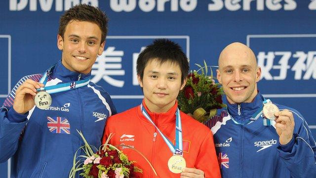 Divers Tom Daley, Qiu Bo & Peter Waterfield