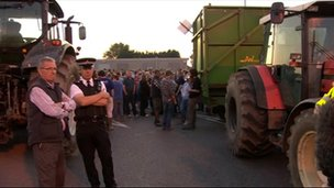 Farmers have blockaded the Robert Wiseman Dairies processing plant near Bridgwater, Somerset