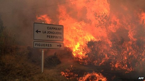 Forest fires in the county of Alt Emporda, in north-east Catalonia, on 22 July 2012