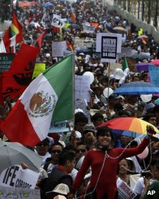 Protesters in Reforma Avenue, Mexico City