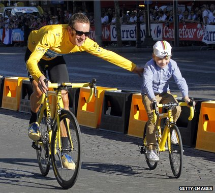 Bradley Wiggins and his son on bikes
