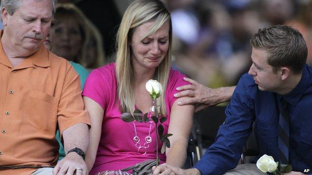 Mourners at Aurora vigil
