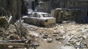War-damaged Midan neighbourhood in Damascus on Sunday