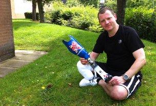 Stuart Hughes with his hi-tech prosthetic leg