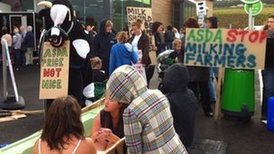 Milk demo outside Asda