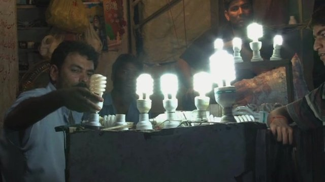 A shop selling repaired energy-saving light bulbs
