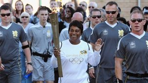 Doreen Lawrence carries Olympic flame in Lewisham, 23 July 2012