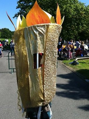 BBC London's Jason Rosam spotted this fan dressed up as a torch in Crystal Palace Park
