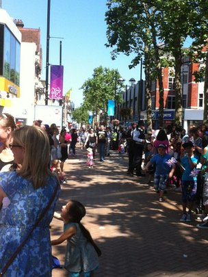 Crowds are gathering on Croydon High Street