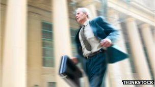 Man running to work