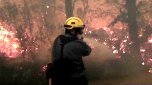 Firefighter tackles blaze