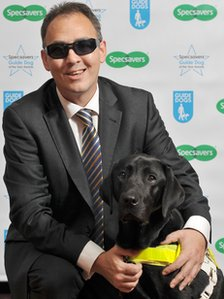 John Tovey with guide dog Dez