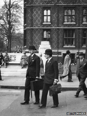 Gentlemen in the City of London, ca 1955.