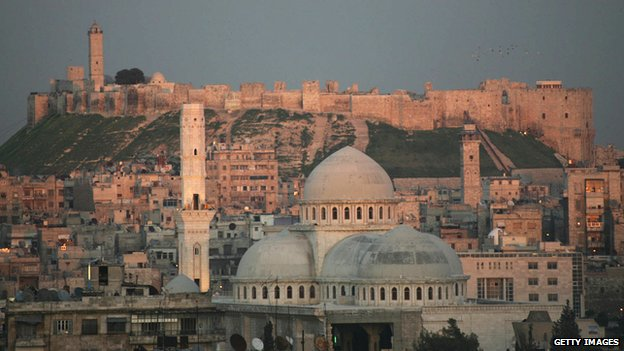 The city of Aleppo with the Old Citadel in the background
