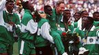Nigeria's team celebrate their gold medal in Atlanta