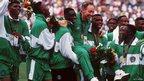 Nigeria's team celebrate their gold medal in Atlanta
