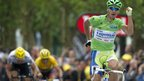 Peter Sagan celebrates winning stage three of the Tour de France
