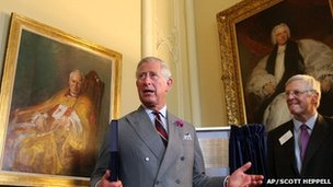 Prince Charles is shown around Auckland Castle by Jonathan Ruffer