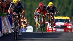 Chris Froome (left) wins stage seven from Cadel Evans (centre) and Bradley Wiggins