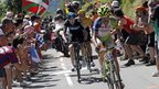 Vincenzo Nibali leads Chris Froome and Bradley Wiggins up the Col de Peyresourde