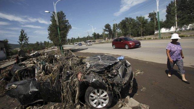 Flood damaged car in China