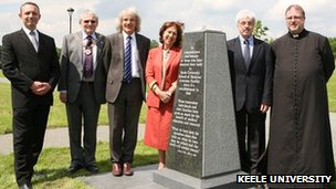 Left to right: Paul Clews, anatomy manager; the mayor of Newcastle; Professor Garner; Professor Wass; Mike Mahon and Father Jones with the memorial stone