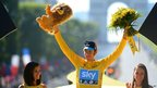 Bradley Wiggins, winner of the 2012 Tour de France cycling race on the podium of the the Tour de France cycling race in Paris, France, Sunday July 22, 2012.