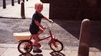 Bradley Wiggins aged 2 on his first ever bike. Bradley Wiggins as a boy.