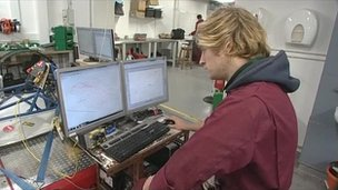Engineering student using computer at Imperial College London