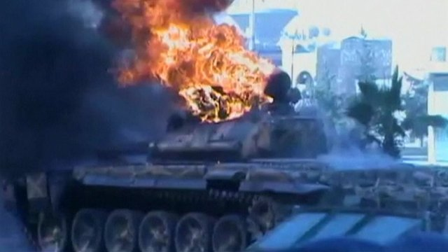 Tank on fire
