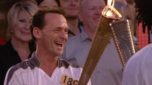 EastEnders character Bill Mitchell lights Olympic torch