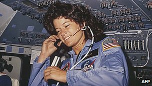 Nasa photo dated June 1983 shows Sally Ride on the Challenger