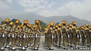 Indian police guard of honour, near Srinagar, Kashmir