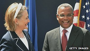 Prime Minister Jose Maria Neves with US Secretary of State Hillary Clinton