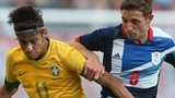 Joe Allen (right) in action against Brazil's Neymar