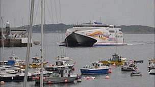 Ferry entering Guernsey's St Peter Port Harbour