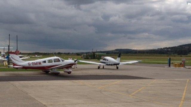Light aircraft in Shoreham Airport, Brighton