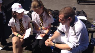 Stuart Hughes talks to School Reporters from Uxbridge High School about being a torchbearer