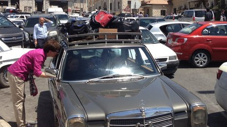 Cars at Masnaa crossing, Lebanon, July 2012