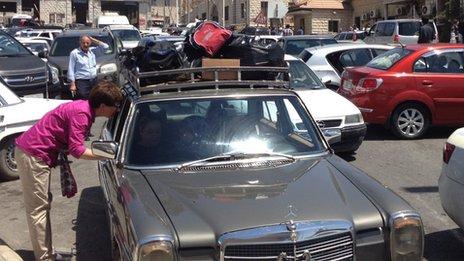 Cars at Masnaa crossing, Lebanon, July 2012