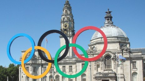 Olympic rings at Cardiff City Hall