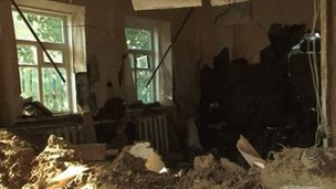 A flood-damaged house in Krymsk