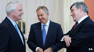 Sir John Major, Tony Blair and Gordon Brown share a joke at the No 10 lunch
